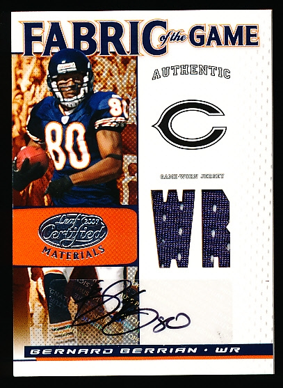 "2007 Leaf Certified Materials Ftbl.- ""Fabric of the Game Autographs Jersey Position""- #FOG-8 Bernard Berrian, Bears- #05/10 Made!"