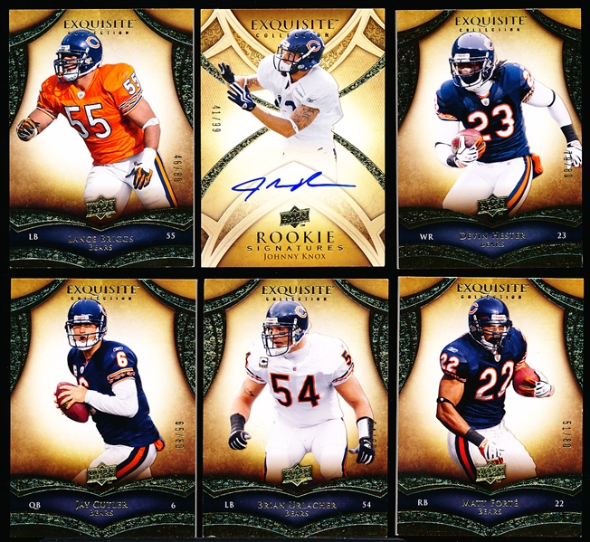 2009 Exquisite Collection Ftbl.- 6 Diff. Chicago Bears- Overall NrMt, all #/80 except J. Knox (#41/99)
