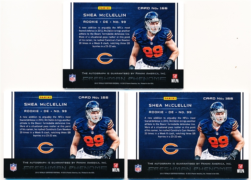 2012 Panini Totally Certified Ftbl.- #166 Shea McClellin AU RC, Bears- 3 Diff.