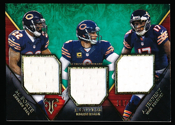 "2014 Topps Triple Threads Ftbl.- ""Triple Threads Relic Trio"" Insert- #TTRT-36 Forte/ J. Cutler/ A. Jeffery, Bears- #10/18 Made!"