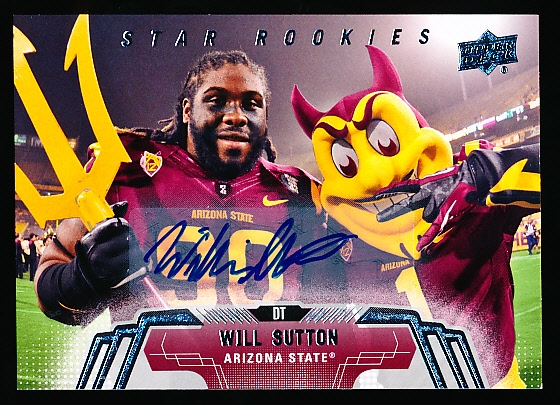 "2014 Upper Deck Ftbl.- ""Star Rookies SP Autographs""- #199 Will Sutton, Arizona State"