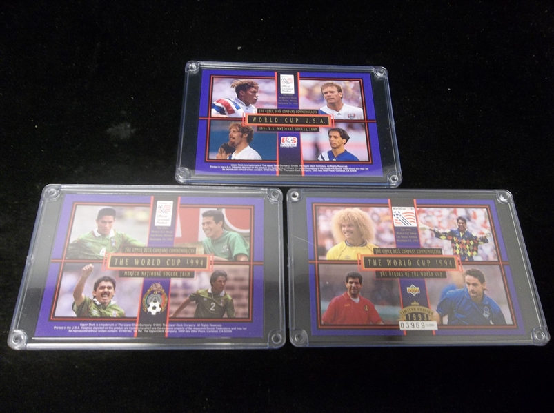 "1993 Upper Deck Limited Ed. 3-1/2"" x 5"" World Cup Serial Numbered Cards- 3 Diff."