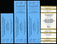 May 4, 1991 The University of Michigan Commencement Tickets- 41st President George Bush Speaker- 3 Full Tickets + One Stub