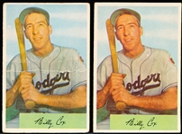 1954 Bowman Baseball- #26 Billy Cox- Both Variations