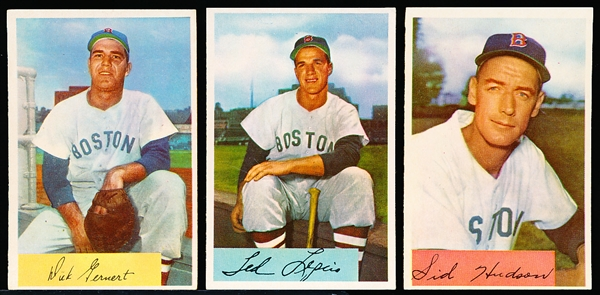 1954 Bowman Bb- 3 Diff Boston Red Sox