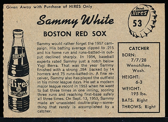 1958 Hires BB- No Tab - #53 Sammy White, Red Sox
