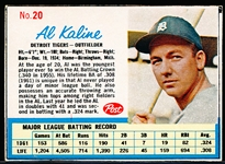 1962 Post Cereal Bb- #20 Al Kaline, Tigers