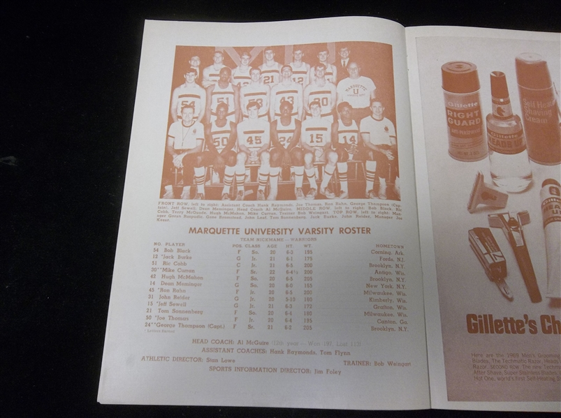 March 13 & 15, 1969 NCAA Mideast Regional Tournament (2nd Round) Program