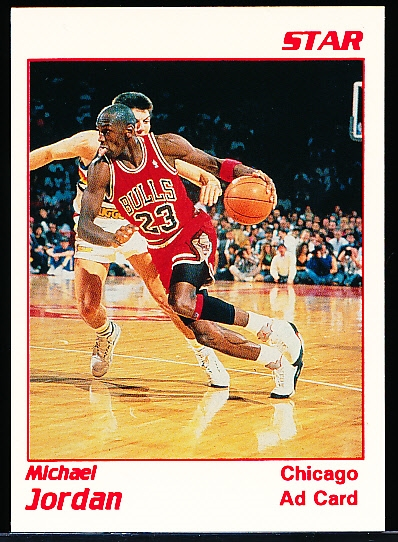 "199? Star Co. Michael Jordan White Bordered/ Red Print ""Ad Card"""