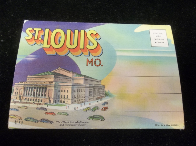 "Paul Monroe Co. Postcard Fold-Out Picture Pack ""D-4416 Greetings from St. Louis, Mo."" Linen Jacket"
