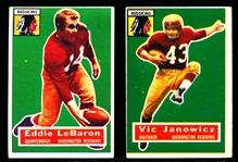 1956 Topps Fb- 2 Diff Redskins SP's