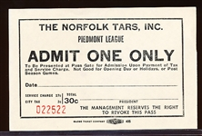 1940's-50's Norfolk Tars Piedmont League MiLB Admit One Game Coupon