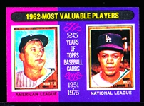 1975 Topps Mini Bb- #200 Mickey Mantle/ M. Wills MVP