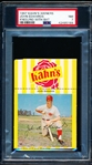 1967 Kahn's Baseball- John Edwards, Reds- PSA NM 7- With Top Ad Tab- Kneeling with bat pose