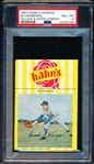 1967 Kahn's Baseball- Ed Kranepool, Mets- PSA NM-MT 8 – Yellow & White Striped version- with top Ad tab