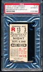 Sep 9, 1948- Chicago Cubs @ St. Louis Cardinals- Ticket Stub- PSA Authentic
