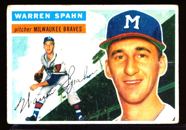 1956 Topps Bb- #10 Warren Spahn, Braves- gray back.