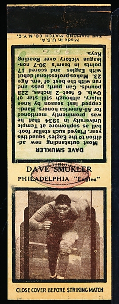 1936 Diamond Matchbooks Football- Dave Smukler, Eagles- With striker- no matches