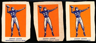 1952 Wheaties Fb- Johnny Lujack, Bears- Action Pose- 3 Cards