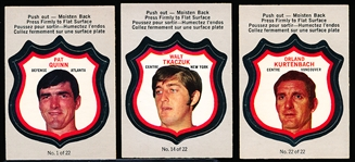 "1972-73 O-Pee-Chee Hockey- ""Player Crests""- 3 Diff."
