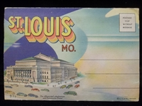 "Paul Monroe Co. ""D-4416 Greeting From St. Louis Mo."" Linen Fold-Out Picture Pack"