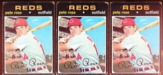 1971 Topps Bb- #100 Pete Rose, Reds- 3 Cards