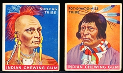 "1933-'34 Goudey Gum Co. ""Indian Gum"" Series of 48 (Red Stripe)- 2 Diff."