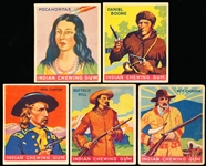 "1933-'40 Goudey Gum Co. ""Indian Gum"" Series of 96- 5 Diff. Stars"